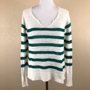 Lucky Brand Knit Green and White Striped Top